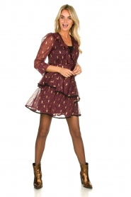 Freebird |  Printed wrap dress Chloe | burgundy  | Picture 3