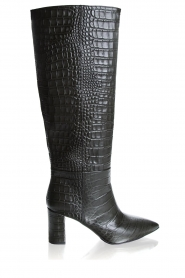Janet & Janet | Leather boots with crocodile pattern Miranda | green  | Picture 1