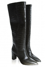 Janet & Janet | Leather boots with crocodile pattern Miranda | green  | Picture 3