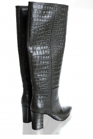 Janet & Janet | Leather boots with crocodile pattern Miranda | green  | Picture 4