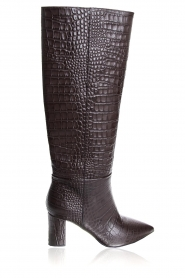 Janet & Janet | Leather boots with crocodile pattern Miranda | brown  | Picture 1