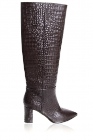 Janet & Janet | Leather boots with crocodile pattern Miranda | brown  | Picture 3