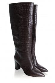 Janet & Janet | Leather boots with crocodile pattern Miranda | brown  | Picture 4