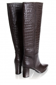 Janet & Janet | Leather boots with crocodile pattern Miranda | brown  | Picture 5