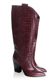 Janet & Janet | Leather boots with crocodile pattern Miranda | burgundy  | Picture 4