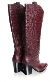 Janet & Janet | Leather boots with crocodile pattern Miranda | burgundy  | Picture 5
