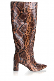 Janet & Janet | Leather snake print boots Ingrid | brown  | Picture 1