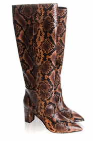 Janet & Janet | Leather snake print boots Ingrid | brown  | Picture 4
