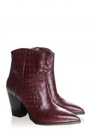 Janet & Janet | Short leather boots with crocodile pattern Miranda | burgundy  | Picture 3