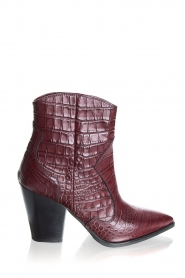 Janet & Janet | Short leather boots with crocodile pattern Miranda | burgundy  | Picture 1