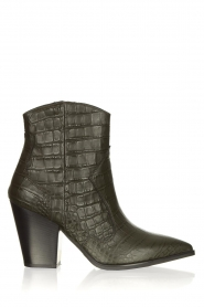 Janet & Janet |  Short leather boots with crocodile pattern Miranda | green  | Picture 1