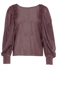 Silvian Heach | Top with puff sleeves and lurex Medidia | purple  | Picture 1