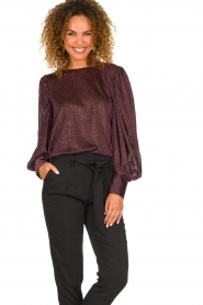 Silvian Heach | Top with puff sleeves and lurex Medidia | purple  | Picture 2