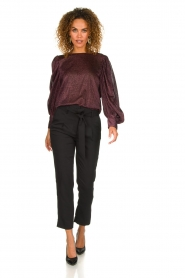 Silvian Heach | Top with puff sleeves and lurex Medidia | purple  | Picture 3