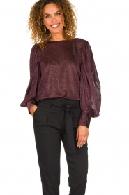 Silvian Heach | Top with puff sleeves and lurex Medidia | purple  | Picture 4