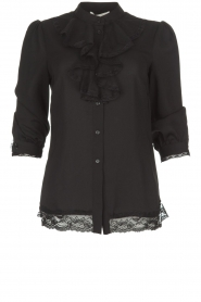 Silvian Heach | Blouse with lace and ruffles Taleb | black  | Picture 1