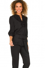 Silvian Heach | Blouse with lace and ruffles Taleb | black  | Picture 2