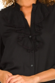 Silvian Heach | Blouse with lace and ruffles Taleb | black  | Picture 6