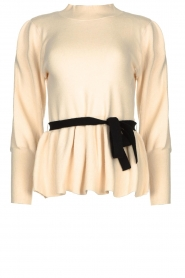 Silvian Heach |  Peplum sweater with ceinture Tiberkani | naturel  | Picture 1