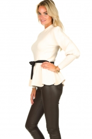 Silvian Heach |  Peplum sweater with ceinture Tiberkani | naturel  | Picture 4