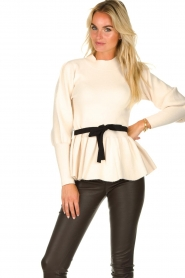 Silvian Heach |  Peplum sweater with ceinture Tiberkani | naturel  | Picture 2