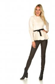 Silvian Heach |  Peplum sweater with ceinture Tiberkani | naturel  | Picture 3