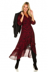 ba&sh |  Zebra print maxi dress with ruffles Selena | red  | Picture 2