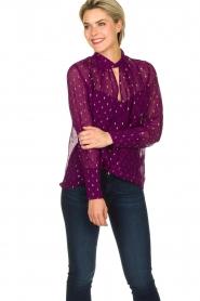 ba&sh |  Lurex print blouse Cabri | purple  | Picture 2