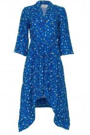 ba&sh |  Asymmetric  print dress Lilia | blue  | Picture 1