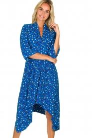 ba&sh |  Asymmetric  print dress Lilia | blue  | Picture 2