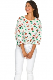 Essentiel Antwerp |  Floral blouse Tiesto | white  | Picture 2