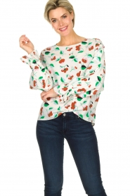 Essentiel Antwerp |  Floral blouse Tiesto | white  | Picture 2
