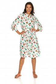 Essentiel Antwerp |  Floral midi dress Tong | white  | Picture 3