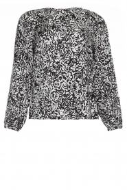 Essentiel Antwerp |  Blouse with print Tartmony | black & white  | Picture 1