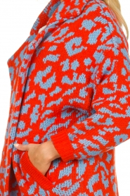 Essentiel Antwerp |  Knitted cardigan with leopard print Tumblr | rood  | Picture 7