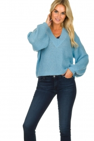 Essentiel Antwerp |  V-neck sweater Twin | blue  | Picture 2
