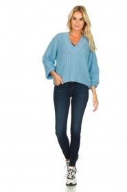 Essentiel Antwerp |  V-neck sweater Twin | blue  | Picture 3