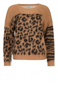 Essentiel Antwerp |  Knitted sweater with print Triboli | brown  | Picture 1