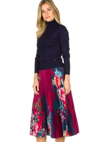 Hale Bob |  Floral plisse midi skirt Swanhild | red  | Picture 4
