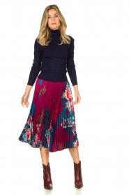Hale Bob |  Floral plisse midi skirt Swanhild | red  | Picture 3
