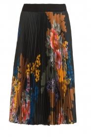 Hale Bob |  Floral plisse midi skirt Swanhild | black  | Picture 1
