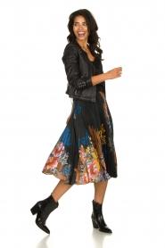 Hale Bob |  Floral plisse midi skirt Swanhild | black  | Picture 3