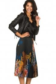 Hale Bob |  Floral plisse midi skirt Swanhild | black  | Picture 4