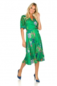 Hale Bob |  Floral wrap dress Velda | groen  | Picture 3