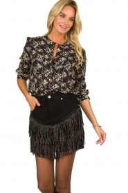 Silvian Heach | Skirt with fringes Taibir | black  | Picture 2