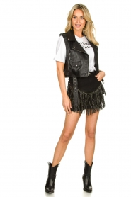 Silvian Heach | Skirt with fringes Taibir | black  | Picture 3