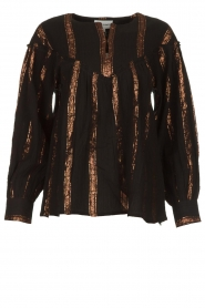 Antik Batik |  Striped blouse Julia | black  | Picture 1