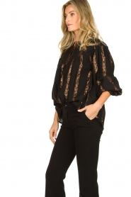 Antik Batik |  Striped blouse Julia | black  | Picture 4