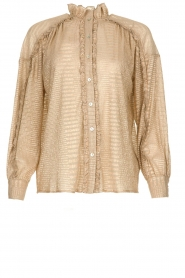 Antik Batik | Blouse with lurex stripes Arele | gold  | Picture 1