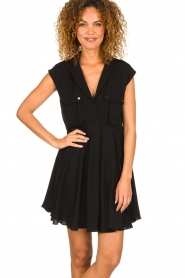 Patrizia Pepe |  Dress with pleated skirt Lucie | black  | Picture 2